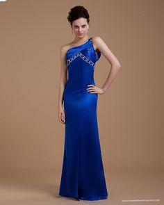 Backless one Shoulder Royal Blue Evening Gowns