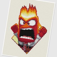 PDF Cross Stitch pattern : 0035.Anger ( Inside Out ) by PIXcross