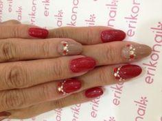 Red Nails with Rhinestones Rhinestone Nails, Red Nails, Rhinestones, Red Toenails, Red Nail, Gems