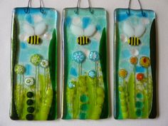 Fused Glass Bumble Bee & Millefiori Flowers Sun Catcher Picture Tile Gift | eBay