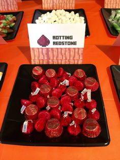 Minecraft Halloween Party ~ Rotting Redstone using red foil wrapped chocolates   #minecraft #halloween  #minecrafthalloween