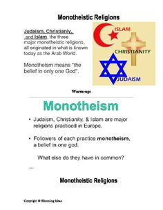 This document contains a blank graphic organizer for students to complete and study, an answer key to the graphic organizer, a warm up to start the lesson on monotheistic religions, and a 30 questions quiz. Answer key to the quiz is provided as well. I used this lesson in my 7th grade World History Class, and 9th grade World Geography Class.