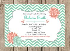 Baby Shower Printable Invitation - Mint and Coral, Chevron, Flowers, Grey, Digital, Girl Baby Shsower - 230
