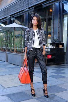 tweed jacket  Love in blue?!, black, gray  Contrasting bag ...