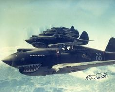 Rare color photo of a squad flying over Japan in WWII. Curtis P40 Kitty-hawk -Credit to R.t Smith