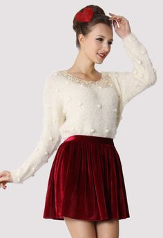 Bling Bling Sequins Collar Fluffy Sweater - Tops - Retro, Indie and Unique Fashion #Chicwish