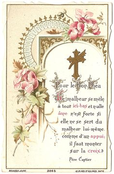 French Antique Art Nouveau Holy Prayer Card by VintagePaperAttic