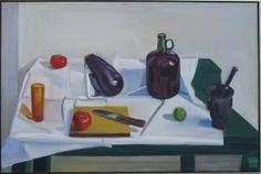 Matthiasdottir, Louisa  Still Life with Mortar and Pestle  oil on canvas  38.25 x 58 inches