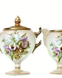 Antique Prussia Beyer & Bock Royal Rudolstadt Porcelain Cream & Sugar Orchid