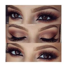 gold and warm neutrals smoky eye | Makeup | Pinterest ❤ liked on Polyvore