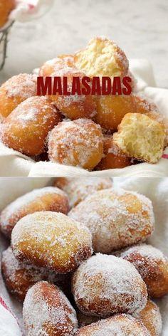 Easy Malasadas Recipe, Malasadas Recipe Hawaii, Donut Recipes, Mexican Food Recipes, Baking Recipes, Amazing Food Videos, Delicious Desserts, Yummy Food, Buzzfeed Tasty