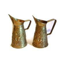 Pressed Brass Ale Pitchers  Made in England by SamsOldiesButGoodies on Etsy