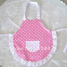 Free Shipping 2013 New Wholesale Kids Podka Dot Printing Girls Cooking/Baking/Painting Bib Apron Cotton Pink Child Aprons Bows-in Aprons fro...