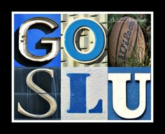 Saint Louis Billikens Go SLU Basketball Letter Art PhotoPrint