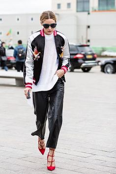 Consider teaming a black and white bomber jacket with black leather drawstring…