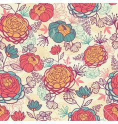 Peony flowers and leaves seamless pattern vector - by Oksancia on VectorStock®
