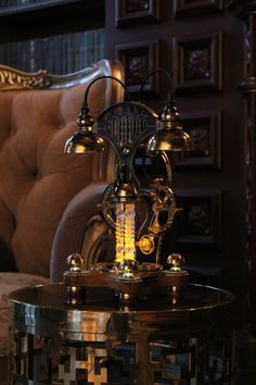 Steampunk Machines, Lampe Steampunk, Steampunk Furniture, Glass Ceramic, Work Lights, Glass Domes, Lamp Bases, Home Lighting, Table Lamp