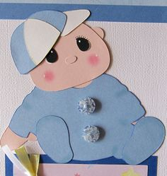 Baby Pre-Made Paper Piecing | Baby Boy Scrapbook Page - blue - premade - paper piecing - Our Sweet ...