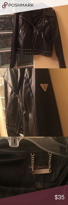 faux black leather jacket /bomber Sporty and sleek this Rocawear jacket was ever worn . Zip close or leave open . It's not heavy , so you can wear it open over a tank with your favorite jeans ...sport some skinny jeans and heels are woohoo ! What a great night out outfit  Jackets & Coats