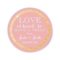 Gold Faux Glitter on ANY COLOR Wedding Favor Label Classic Round Sticker