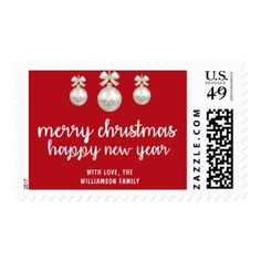 Personalized Red and White Merry Christmas Postage - christmas stamps custom merry xmas postage diy customize
