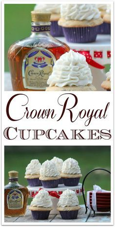 delicious Crown Royal Cupcakes are the perfect dessert for your adult party! The flavor of the Crown Royal is subtle, with a hint of vanilla and fruit. The next time you need a recipe for something special to bring to a party, try this amazing sweet Alcoholic Cupcakes, Alcoholic Desserts, Liquor Cupcakes, Alcohol Infused Cupcakes, Rum Cupcakes, Ciroc Cupcakes Recipe, Desserts With Alcohol, Alcohol Infused Fruit, Alcoholic Shots