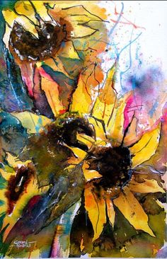 painting baby girl hair style step by step - Baby Hair Style Watercolor Sunflower, Sunflower Art, Abstract Watercolor, Watercolor And Ink, Watercolor Flowers, Watercolor Paintings, Watercolors, Abstract Flowers, Girl Hair