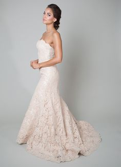 a peach lace wedding dress = a softer, more antique alternative to white