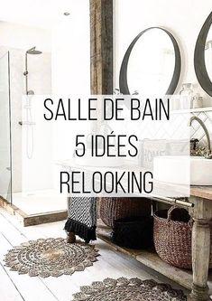 SALLE DE BAIN : 5 IDEES RELOOKING DECO www.keidueagence.com .  #renovation #salledebain #carrelage #faience #ciment #hexagonal #blanc #miroir #rond #vasque #robinet #scandinave #moderne #home #appartement #deco #inspiration #tendance #lifestyle #2018