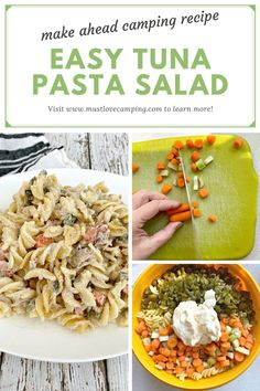 An easy tuna pasta salad recipe with a secret, sweet ingredient...pickles. It's the perfect make ahead meal for camping for lunch, dinner or a tasty snack. Easy Campfire Meals, Campfire Food, Camping Meals, Campfire Recipes, Quick Meals To Cook, Make Ahead Meals, Easy Meals, Tuna Salad Pasta, Pasta Salad Recipes
