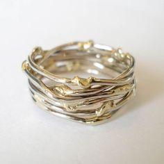 Witgouden ring met geelgouden accenten. Unica! work by heleen hoogenboom