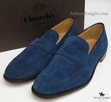 Mens CHURCH'S SHOES BLUE SUEDE LOAFERS   Repinned by www.silver-and-grey.com