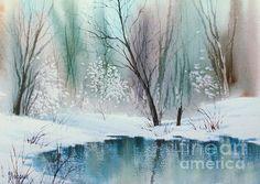 Stream Cove in Winter. watercolor. 10 x 14