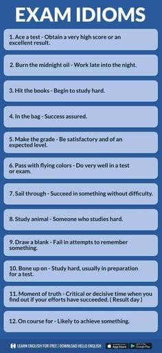 Exam idioms in English English Idioms, English Vocabulary Words, English Phrases, Learn English Words, English Lessons, English Grammar, English Study, English English, Hello English