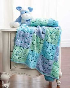 Bernat: Pattern Detail - Baby Sport - 3 Color Crochet Blanket