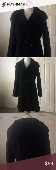 "Apt 9 Black Wool Coat with Lining 🆕Listing... Apt 9 Black Fully Lined Wool Coat. Features large stylish collar, attached belt & buckle for cinched waist affect. Outside lined pockets at hip. Wool covered button guard, as well as, inside left breast pocket. Measurements: Shoulder to Shoulder 18 1/2"", Armpit to Armpit 24"", Arm Length 24"" & Coat Length 35"". Apt. 9 Jackets & Coats"