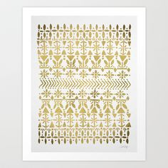 Norwegian Pattern – Gold on White Art Print by Cat Coquillette - $18.00