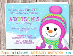 Frosty Fun Birthday Invitation Birthday Invite by TheColorfulScoot, $11.00