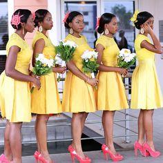 yellow bridesmaid dresses with sleeves Turquoise Bridesmaid Dresses, Short Lace Bridesmaid Dresses, Yellow Lace Dresses, Bridesmaid Dresses With Sleeves, Lace Bridesmaids, Bridal Dresses, Color Turquesa, Short Gowns, African Fashion Dresses