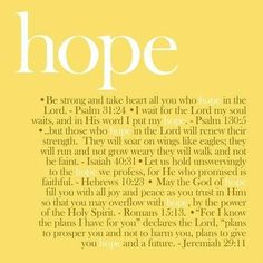 Hope is not in Psychology or biology, hope is in Jesus Christ.