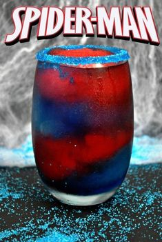 If you're looking for something fun for Spider-Man party ideas or Marvel movie-watching parties, then this SpiderMan frozen drink is for you! alcoholic drinks 23 Movie Themed Cocktails That Are Awesome Kid Drinks, Liquor Drinks, Frozen Drinks, Non Alcoholic Drinks, Cocktail Drinks, Disney Drinks, Cocktail Tequila, Bourbon Drinks, Beverages