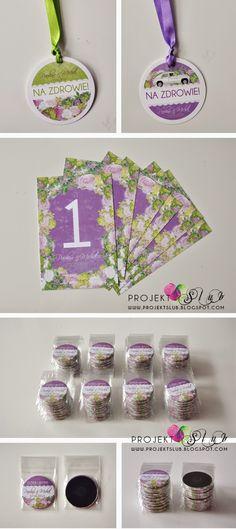 magnesy ślubne pasujące do kolekcji zaproszeń i dodatków BIAŁA WARSZAWA - w odcieniach fioletu, bieli i zieleni