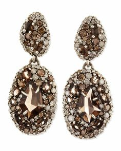Smoky Gold Marquise 2-Drop Earrings, Pave Diamonds & Smoky Quartz by Alexis Bittar at Neiman Marcus.