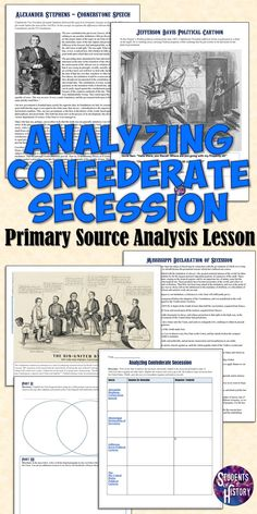 War & Secession Primary Source Analysis Activity Confederacy and Southern secession primary source analysis lesson for US History and the Civil War!Confederacy and Southern secession primary source analysis lesson for US History and the Civil War! Teaching Us History, Teaching American History, American History Lessons, History Teachers, History Education, Primary History, Education English, Civil War Activities, History Activities