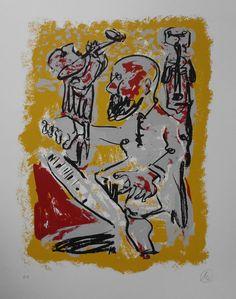 Markus Lüpertz ist ein deutscher Maler, Grafiker und Bildhauer. Er wurde 1941 geboren und zählt zu den bekanntesten deutschen Künstlern der Gegenwart. Seine Bildgegenstände zeichnen sich durch suggestive Kraft und archaische Monumentalität aus.   Markus Lüpertz - Serigraphie aus 2011 Technik: In Handformen erstellte Mehrfarben-Serigraphie Jahr: 2011  handsigniert und e.a. bezeichnet  Größe: 80,5 cm x 64,5 cm  Auflage: 40 Exemplare, zzgl. e.a,