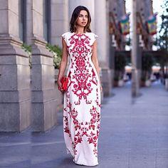 Mulheres+Bandagem+Vestido,Festa/Coquetel+Estampado+Decote+Redondo+Longo+Sem+Manga+Branco+Algodão+Verão+–+EUR+€+9.79