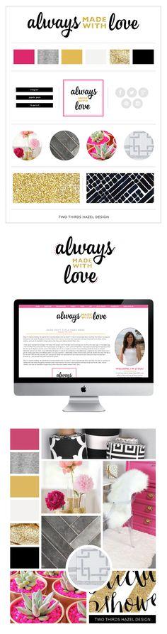 Pink and gold blog design. Brand board. Logo design. Girly website designs. Two Thirds Hazel Design