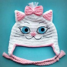 Crochet cat beanie kids 50 ideas for 2019 Crochet Animal Hats, Crochet Kids Hats, Crochet Crafts, Crochet Projects, Knitted Hats, Crochet Baby Cocoon, Crochet Baby Beanie, Crochet Cap, Crochet Bookmark Pattern