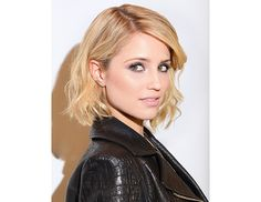 @byrdiebeauty - Dianna Agron    We're not sure what's more rock 'n' roll—Agron's leather moto jacket or her piece-y, tousled lob.