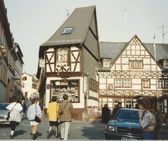 street scenes of Rudesheim, Germany.  Arlene is standing to extreme right of me.  Feb '92